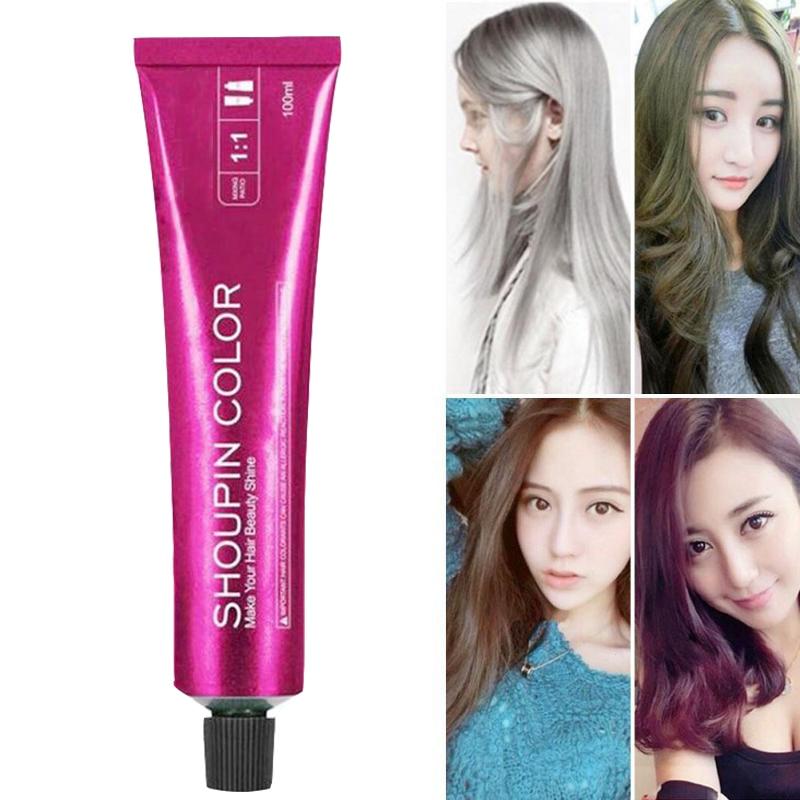 Professional Permanent Hair Color Cream Hair Dye Non-toxic DIY Wax Mud Dye Cream Red Blue Purple Styling Tool Molding 100ml