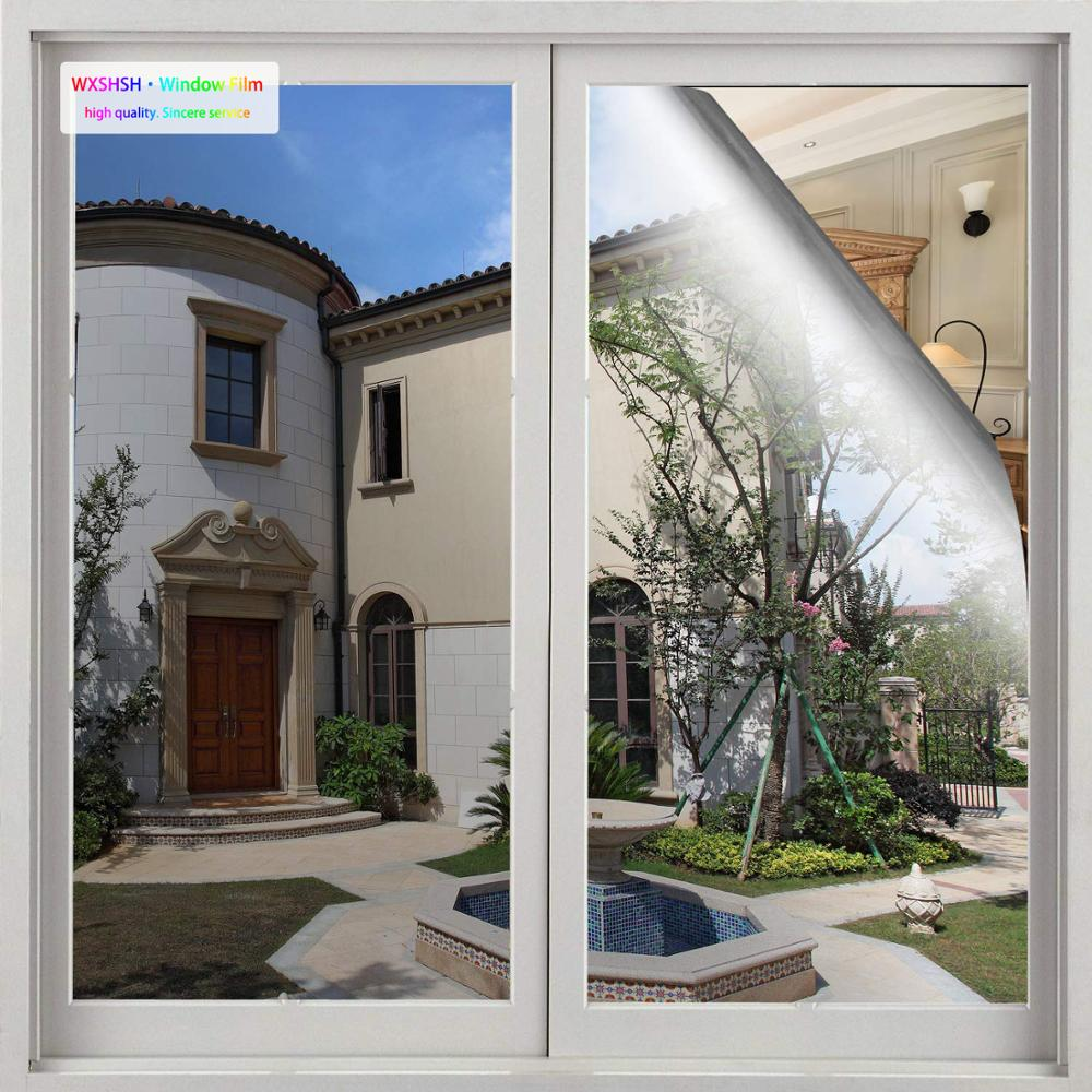 0 7 5m Silver Window Film Privacy One Way Reflective Film self Adhesive Window Tint Sun Blocking Heat Control Mirror Glass Film in Decorative Films from Home Garden