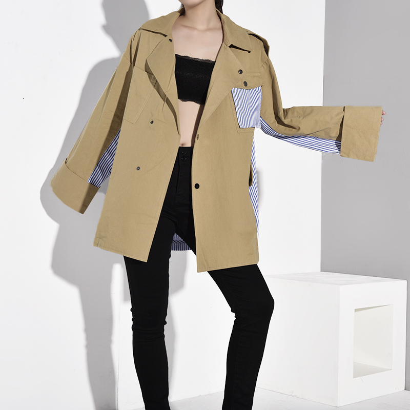 [EAM] Loose Fit Khaki Striped Stitch Big Size Jacket New Lapel Long Sleeve Women Coat Fashion Tide Spring Autumn 2020 WJ08504 2