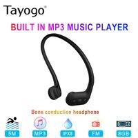 Tayogo-auriculares W01 impermeables de conducción ósea, con reproductor MP3 y Radio FM, deportivos, para buceo y correr, 8GB, IPX8