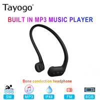 Tayogo W01 Waterproof Bone Conduction Headphone Bulit in 8GB Swim MP3 Player with FM Radio IPX8 Sport Earphone for Diving Runing