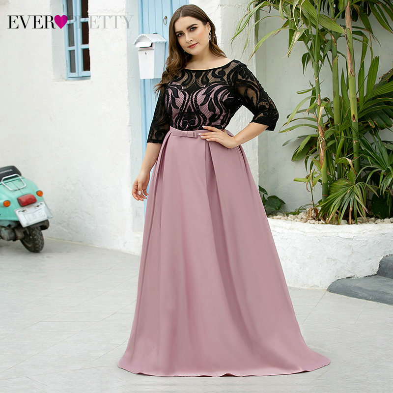 Plus Size Lace Prom Dresses Ever Pretty Bow Sashes O-Neck Half Sleeve See-Through Elegant Satin Party Gowns Vestidos De Gala