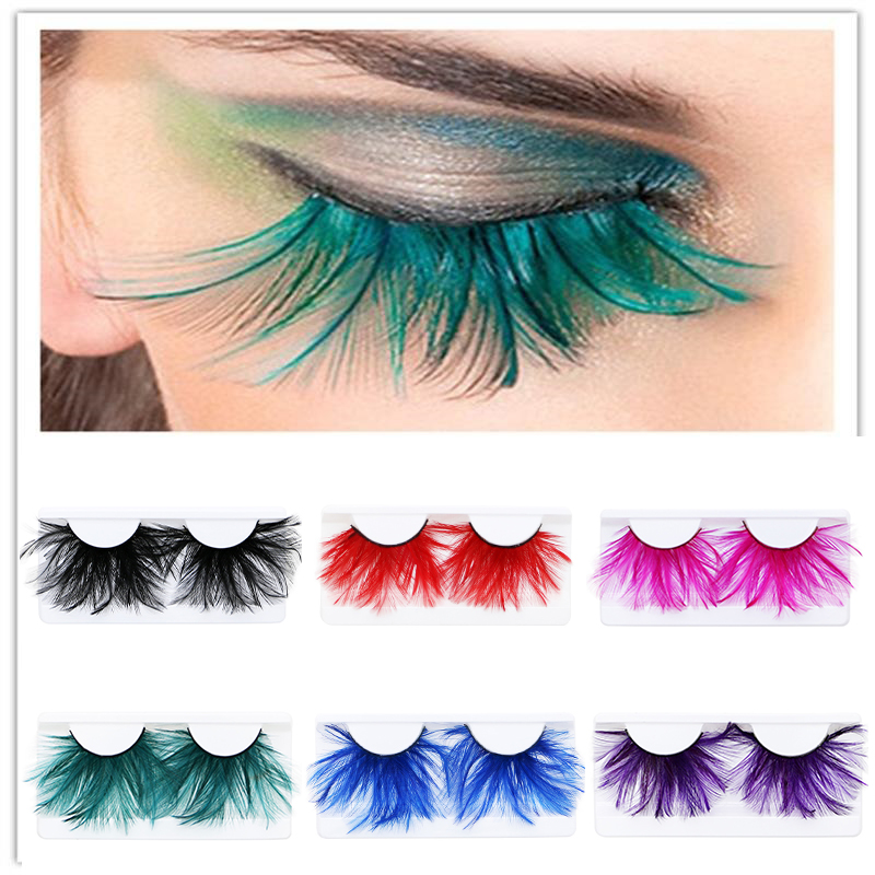 1Pair Feather 3D Thick Winged Natural Long False Eyelashes Party Nightclub Makeup Eye Lash Halloween Xmas Show Feather Eyeashes