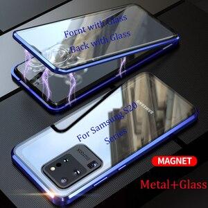 Image 2 - Magnetische Flip Case Voor Samsung Galaxy S20 Ultra S20 Plus Case Dubbelzijdig Gehard Glas Bumper Cover Voor Samsung s20 S 20 Capa