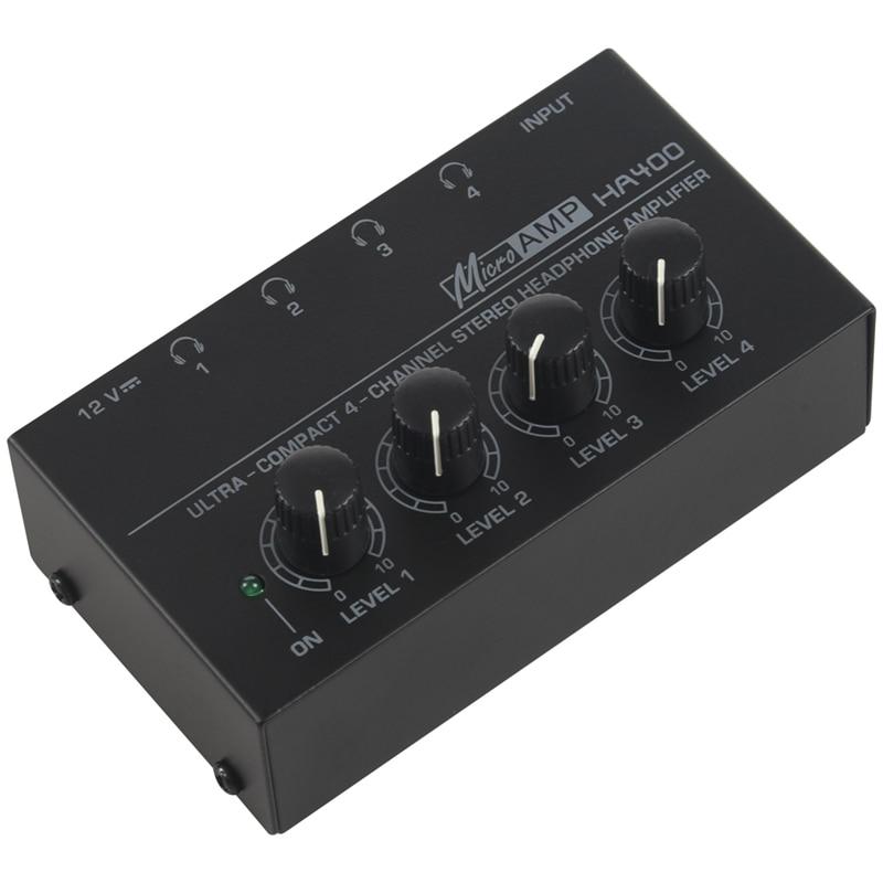 Eu Plug Ha400 Ultra Compact 4 Channels Mini o Stereo Headphone Amplifier With Power Adapter Black