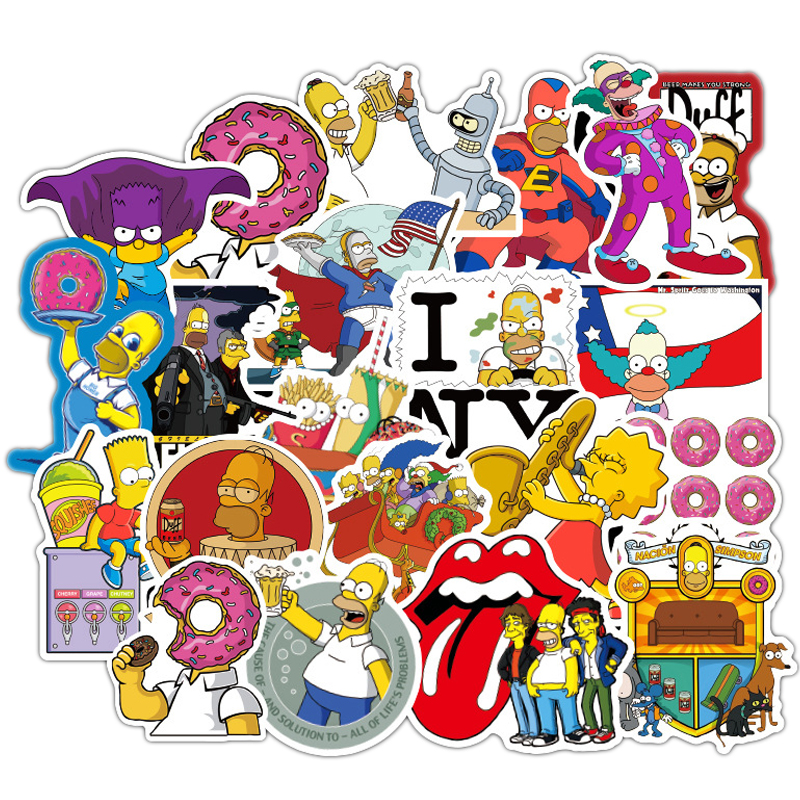 100pcs Funny Anime Cartoon Simpsons Graffiti Stickers For Car Moto & Suitcase Cool Laptop Stickers Skateboard Kids Stickers F3