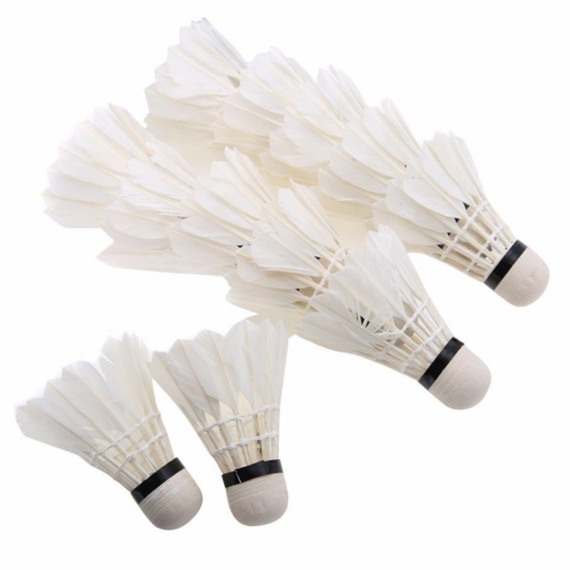 12Pcs Feather Shuttlecocks Stable & Durable Sports Training Badminton Balls For Indoor Outdoor Game, White