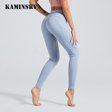 Kaminsky soild retalhos leggings mulheres sexy pêssego hart esportes leggings bolso de fitness feminina alta qualidade calças de náilonLeggings