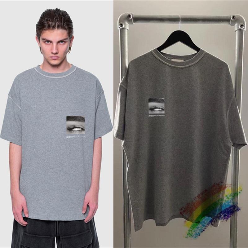 A versão superior oversize arnodefrance t-shirts das mulheres dos homens streetwear lavado do velho dentro para fora dos olhos impressão arnodefrance t camisa