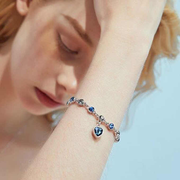 Pulseira de cristal austríaco para a mulher coreano pulsera azul oceano coração pingente moda banquete jóias bons amigos presente quente