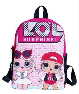 Image 5 - Lol sürpriz lol bebek erkek ve kız öğrencilerin karikatür schoolbag okul çocuğu sırt çantası boşaltma schoolbag keten sırt çantası