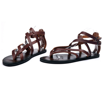 Big Size 44 Men Genuine Leather Sandals Summer Classic Men Shoes Slippers Soft Sandals Men Roman Comfortable Beach Shoes Men