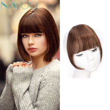 Nayoo Clip In Hair Bangs Hairpiece Synthetic Fake Bang Hair Piece Clip In Hair Extension Air Bangs Clip on Bangs Black Brown unique love heart style zinc alloy hair pin bangs clip black 6 pcs
