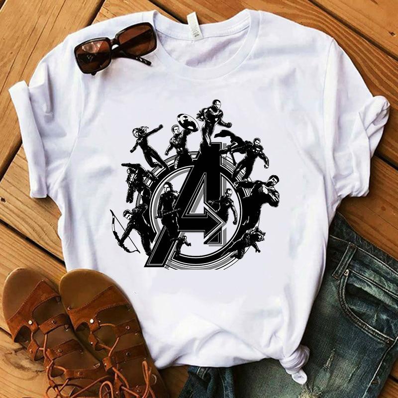 2019 New T Shirt Women Marvel Movie Avengers Endgame Vogue Print T-shirts Short Sleeve Harajuku Style Tshirt Streewear Clothes