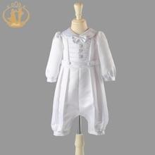 軽快な男の子服洗礼ソリッドベビー服新生児服白衣 3 メートル 6 メートル 9 メートル 12 メートルvestidos
