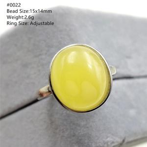 Image 4 - Natural Yellow Amber Adjustable Ring Gemstone Stone For Woman Man Wedding Engagement 925 Sterling Silver AAAAA