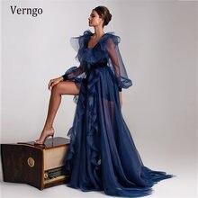Verngo элегантные Темно синие Тюль платья для официальных мероприятий