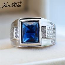 Mens Square Blue Stone Big Geometric Rings For Men Women Silver Color Vintage Wedding
