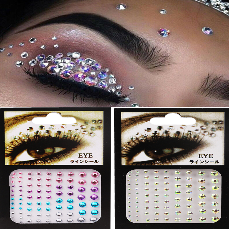 3D Face Diamond Temporary Sexy Crystal Beads DIY Diamond Festival Party Makeup Tools Eyes Glittering Makeup Decorative Stickers