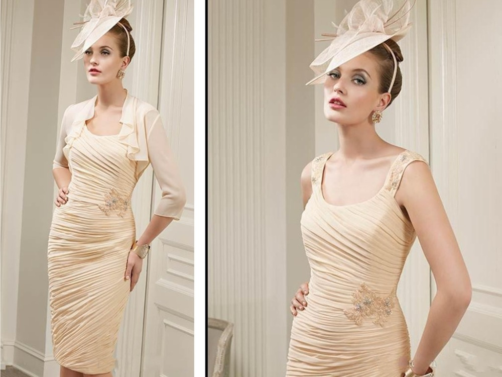 Luxury Pleat Chiffon Mother Of The Bride Dresses With Jacket Knee-Length Beading Vestido Da Noiva Robe De Soiree For Weddings