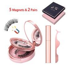 Magnetic Eyelashes Set 2 Pairs False Eyeliner Eyelash Tweezer 5 Magnets Natural Long Makeup Tool Kit with Box