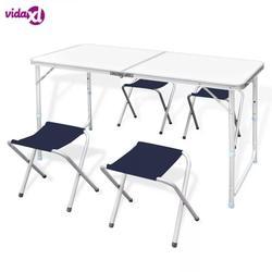VidaXL Stabil Und Langlebig Faltbare Camping Tisch Höhe Einstellbar Mit 4 Stühle Geeignet Für Küchen Decks Picknicks