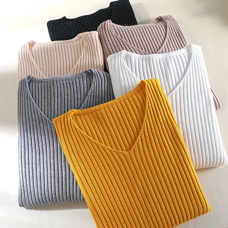 NORMOV Autumn Basic V-Neck Solid Sweater Women Pullover Knitted Female Sweater Slim Long Sleeve Casual Multicolor Sweater Tops