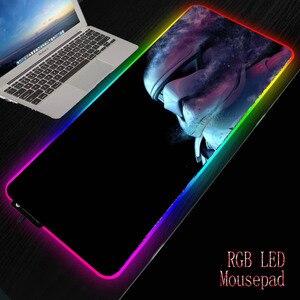 Xgz star wars led gamer rgb grande mousepad iluminação teclado usb almofada de mesa colorida tapete de ratos para computador portátil desktop