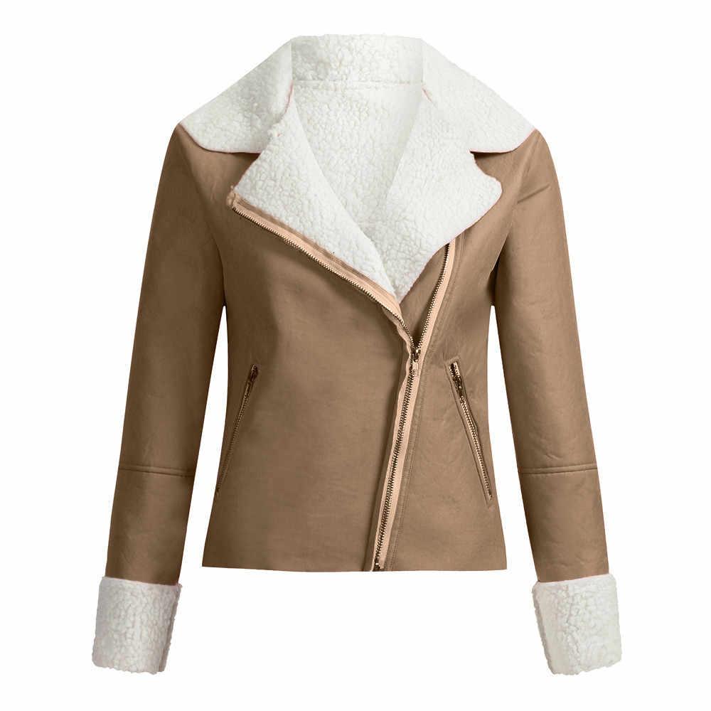 ファッション女性ジャケットラペルスエードレザークールパイロットジャケット子羊カジュアルウールオートバイレディースブラウストップス