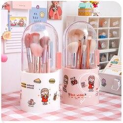 Kawaii storage box pen barrel makeup brush storage acrylic dresser desktop dust-proof storage supplies filled pearls
