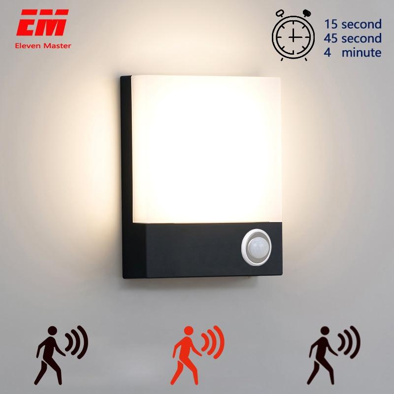 Modern Waterproof Outdoor 15W LED Wall Lamp IP65 Aluminum PIR Motion Sensor Wall Light Garden Porch Sconce 110V 220V ZBW0007