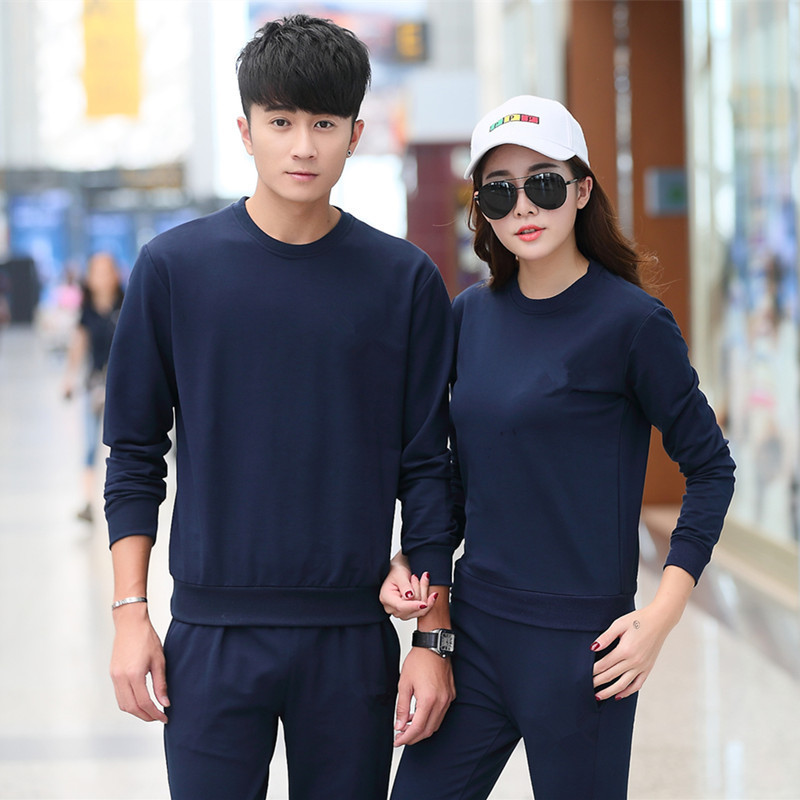 2019 Sports Set Men's Spring And Autumn Long Sleeve Large Size Couples Sports Clothing WOMEN'S Suit Korean-style Hoodie Casual J