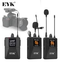 EYK EW-C02, 30 canales UHF inalámbrico, sistema de micrófono de doble solapa, rango de 60 metros para teléfono con cámara DSLR, micrófono de solapa para grabación de entrevistas