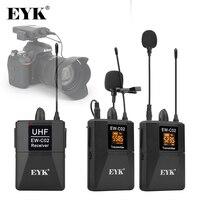 EYK EW-C02 30 Kanal UHF Wireless Dual Lavalier-mikrofon System 60m Palette für DSLR Kamera Telefon Interview Aufnahme Revers mic