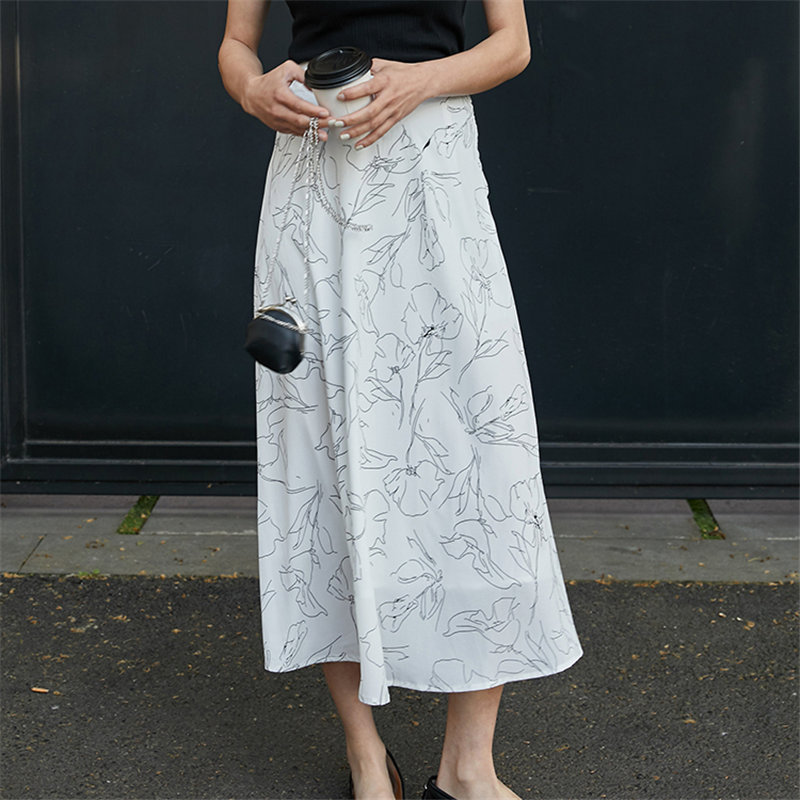 Hzirip Chic Fashion Vintage Chiffon A-Line Print Office Lady Florals  2020 Elegance High Waist Stylish All Match Fresh Skirts