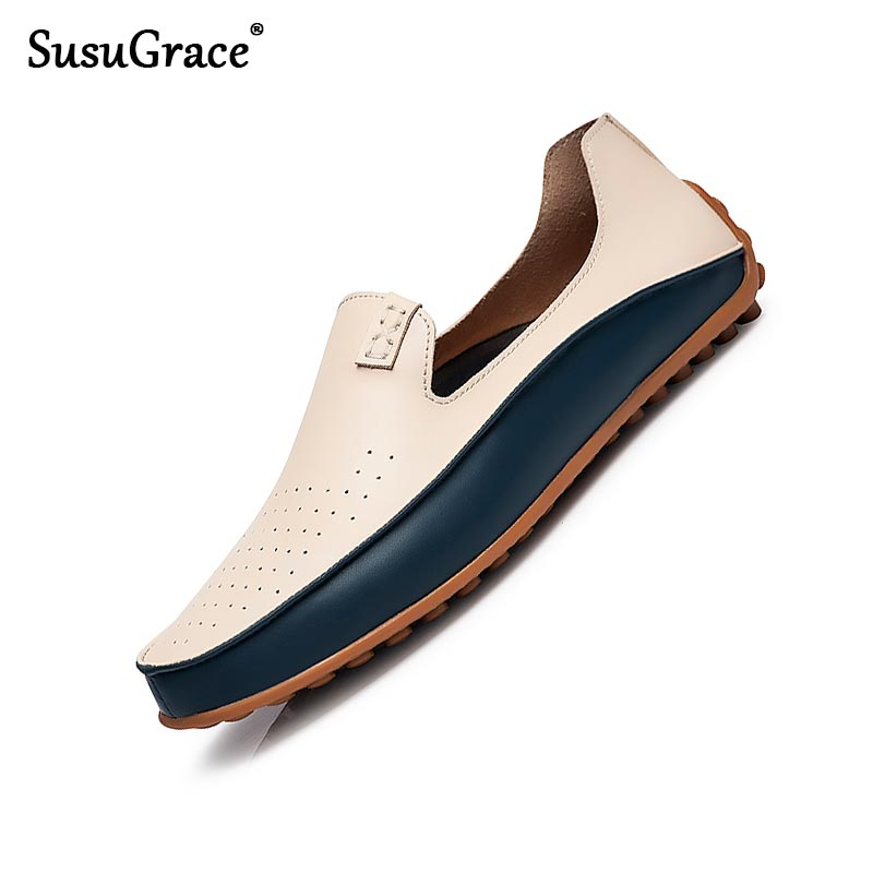 Susugrace Men Leather Casual Loafers Summer Flats Slip-on Breathable Moccasins Autumn Punching Drive Shoes Outdoor Plus Size 47