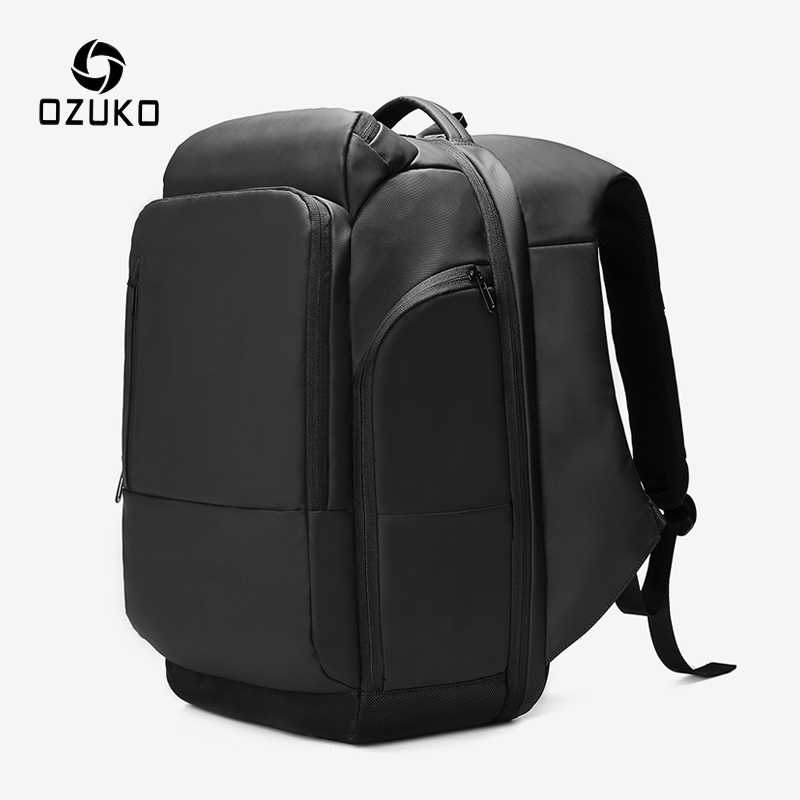OZUKO Men's Large Capacity 17 inch Laptop Backpack Male USB Charging Multi-layer Backpacks Waterproof Travel Bag Casual Rucksack