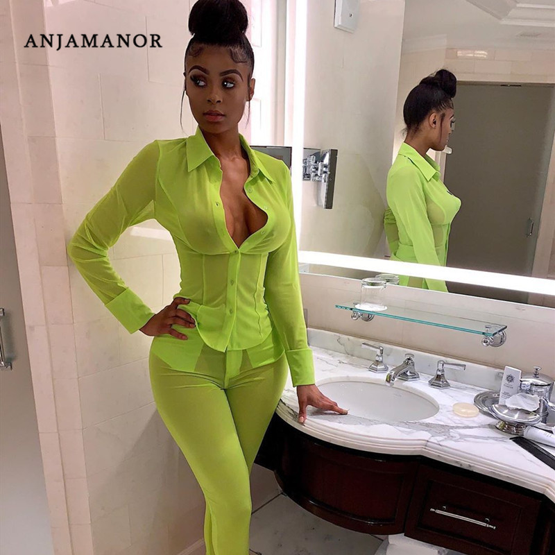 ANJAMANOR Neon Green Mesh Sexy Two Piece Set Top And Pants Matching Sets Autumn 2019 Women Clothes Sets Club Outfits D30-AF31