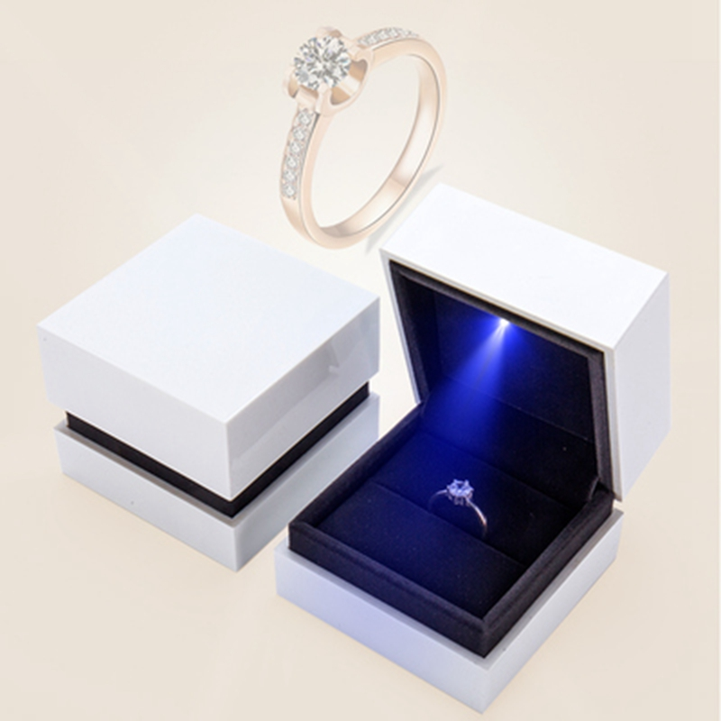 Square Classic Ring Box LED Lighted Jewelry Storage Container Case Best Gift For Christmas