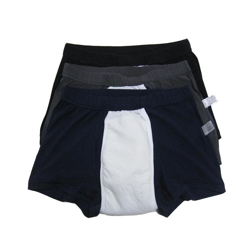 Cuecas de incontinência urinária lavável reutilizáveis para próstata surgica 3-pack roupa interior de incontinência masculina de algodão absorvência regular