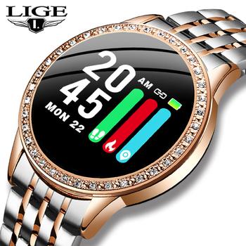 LIGE nowy pas stalowy inteligentny zegarek kobiety tętno monitorowanie ciśnienia krwi funkcja Sport tryb wielofunkcyjny moda Smartwatch tanie i dobre opinie Brak Android Wear 128 MB Passometer Fitness tracker Uśpienia tracker Wiadomość przypomnienie Przypomnienie połączeń