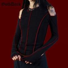 Goth Dark Grunge Punk Gothic damskie t-shirty drążą Patchwork krótki Top zima 2021 kobiet T-shirt Chic estetyczne