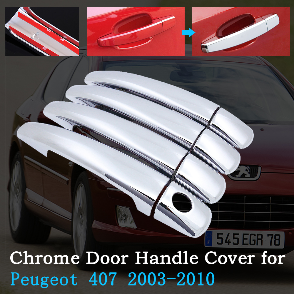 Chrome Car Door Handle Cover for Peugeot 407 sw 2003~2010 Luxurious Trim Set Exterior Accessories 2004 2005 2006 2007 2008 2009 image
