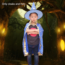 Childrens Halloween Costume Wizard Witch Cloak Cape Robe And Hat for Boy Girl Cosplay Masquerade Party