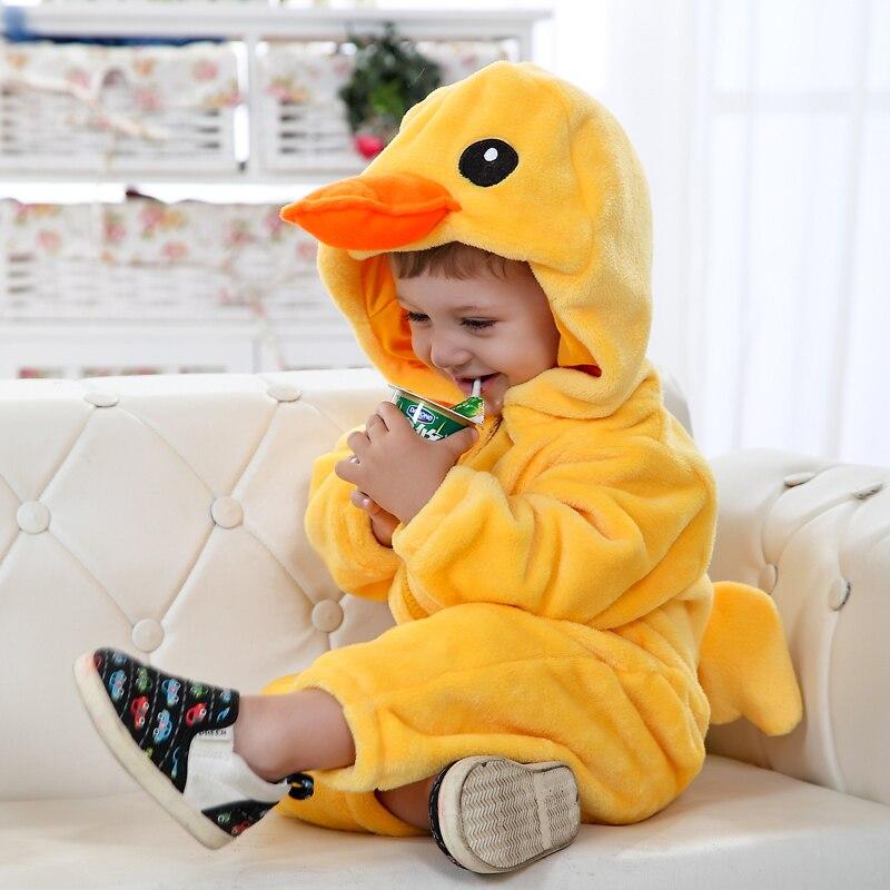 Image 5 - Umorden Baby Yellow Duck Costume Cosplay Kigurumi Cartoon Animal Rompers Infant Toddler Jumpsuit Flannel Halloween Fancy Dress