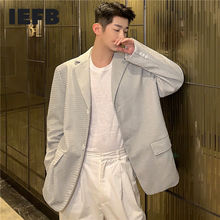 Blazers Coat Suit IEFB Male White Casual Single-Breasted for Men Jacquard-Fabric Loose