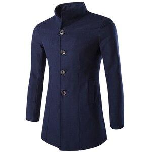 Image 2 - Helisopus mężczyźni długi płaszcz moda kurtka z wełny 2020 wiosna jesień stanąć kołnierz mieszanki wełny czarny płaszcz