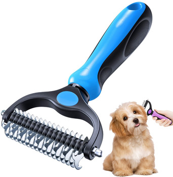Pet Grooming Brush Double Sided Shedding and Dematting Undercoat Rake  1