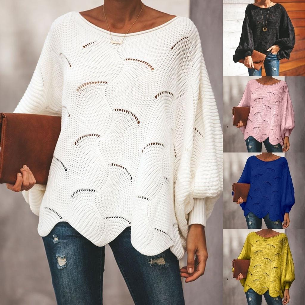 Crocheted Sweater Women Sexy Ruffles Lantern Sleeve O-neck Hollow Out Loose Pullover Ladies Solid Oversized Tops