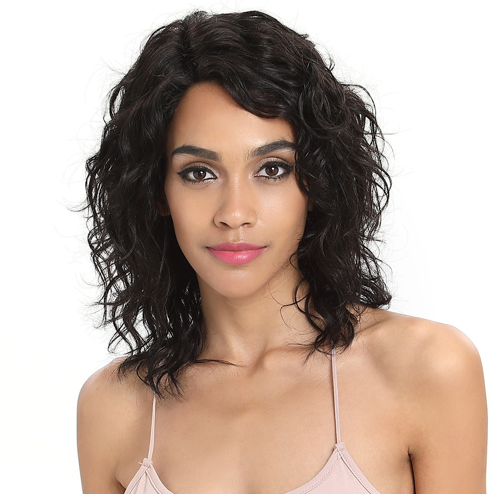 Sleek Short Human Hair Wigs 100% Remy Brazilian Hair Wigs  Wet And Wavy L Part Lace Wigs Water Wave TT1B/27 Ombre Color Wigs
